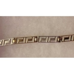 Minas White & Yellow Gold Greek Key Bracelet 14 ct 20 cm