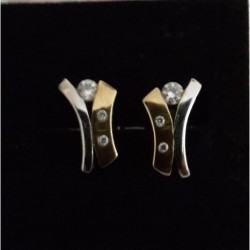 Diamond Earrings White & Yellow 9 ct gold