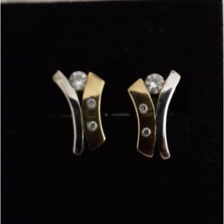 Diamond Earrings White & Yellow 9 ct gold