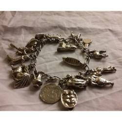 Vintage Silver Charm Bracelet 59 grams